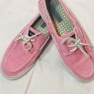 Sperry pink canvas slip on shoes
